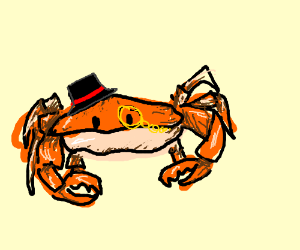 Crab with a monocle and top hat