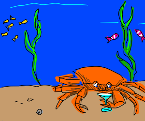 Crab sipping martini