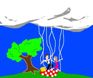God pulls strings in marionette picnic date