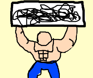 buff man holds unreadable sign