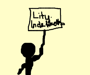 """Person holding sign saying """"Lity. Inde Blacks"""""""
