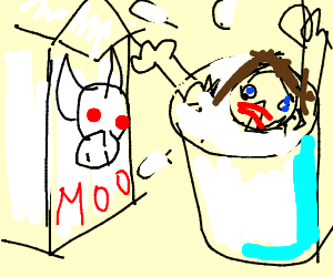 Girl drowning in glass of milk.
