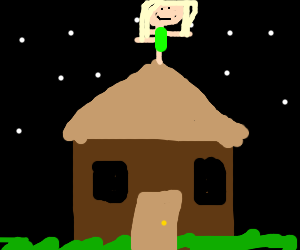 Girl balancing on a roof at night.