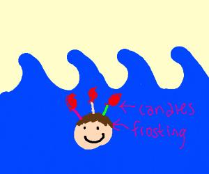 headcake in the ocean