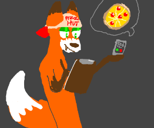 Furry takes a man's pizza order.