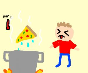 A man boils pizza, it tastes bad