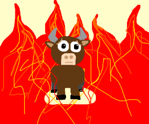 Bull surrounded by fire