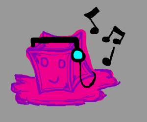 purple jelly cube listens to music