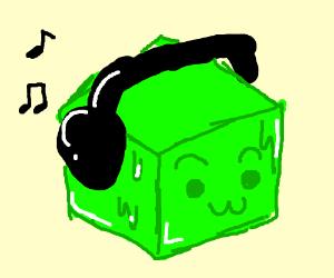 Gelatinous Cube listening to Music