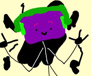 Purple blockhead can can dancer (splotchy bg)