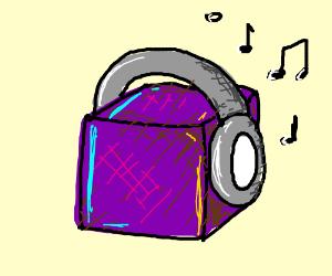 Purple box listens to music