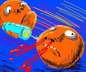 nosebleeding orange gets a shot by another one