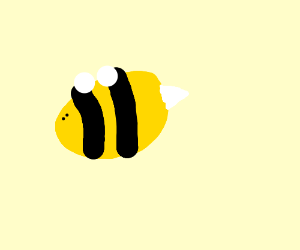 sideways bumblebee with small eyes