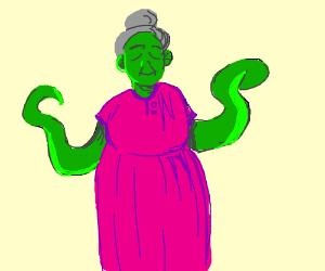 Green, tentacle armed, loving woman