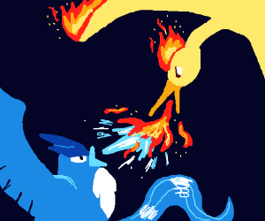Articuno and Moltres fighting