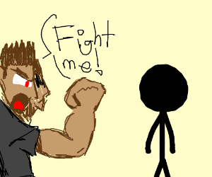 Two headed guy wants to fight stickman