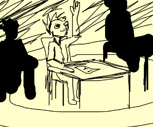 Spiky Haired Kid raises hand