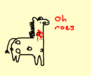 a girraph with spots bleeding