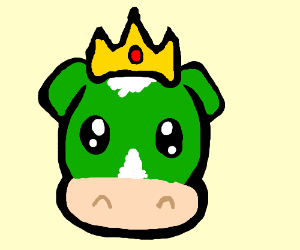Green Cow has a crown on his head.