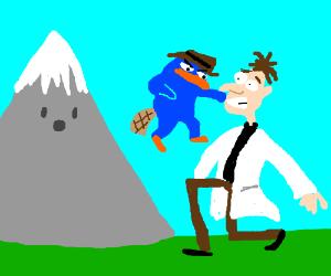 Mountain watches as Perry Shoves Doofenshmirtz