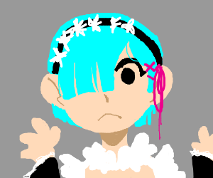 Blue Hair Anime Girl with Hands Out (Maid?)