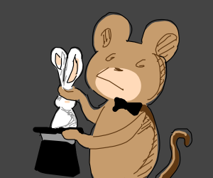 Monkey magician pulls rabbit from hat