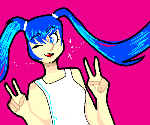 Hatsune miku giving the peace sign