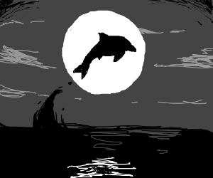 Dolphin Jumps In Front of The Moon
