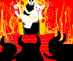 demons bow to white King cat