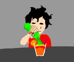 Man makes mountain dew and orange smoothie