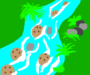 Cookies float in river