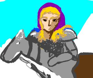 Blonde Female Knight in Purple Hood