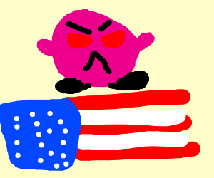 kirby on the amrican box covers (angry)