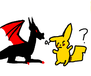 a really good red+black dragon(Maybe Pikachu)