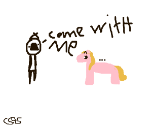 Boy invites pink pony to come with him