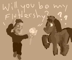 brony starts hitting on horse,who is disturbed