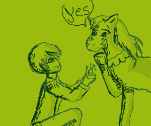 Boy proposes to his horse. Horse accepts