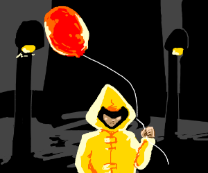 Kid in a Yellow Raincoat holds a Red Balloon