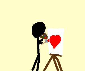 Artist paints a heart on a canvas