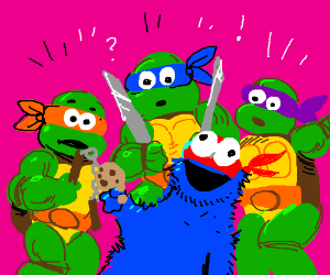Cookie Monster join Ninja Turtles