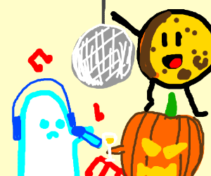 Pumpkin, ghost, and cheese party together