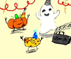 A Pumpkin, A Ghost, and A Cheese at a party.
