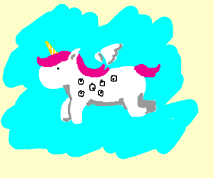 scantily clad unicorn eyeball with wings