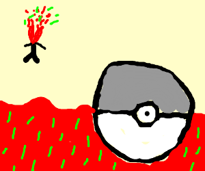 grey pokeball being attacked by blood and gras