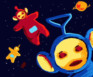Teletubbies floating in the space
