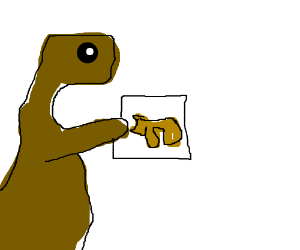 this is a t-rex with a picture of a rhino
