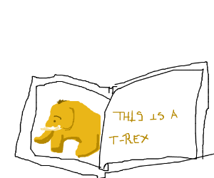 Book with bad dino drawings