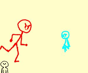 red angry stickman vs blue sad stickman