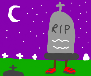 Gravestone with brown legs and red shoes