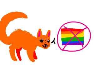 Cat doesn't like gay people.